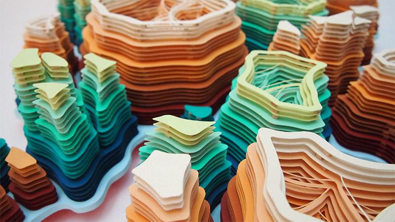 Hand-Cut Paper Microorganisms Sculptures