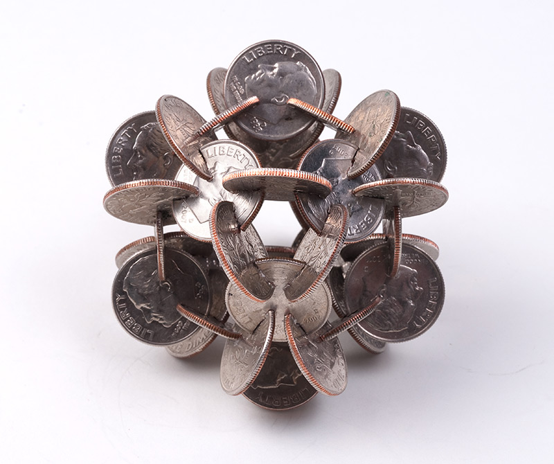 Geometric Sculptures Made of Coins