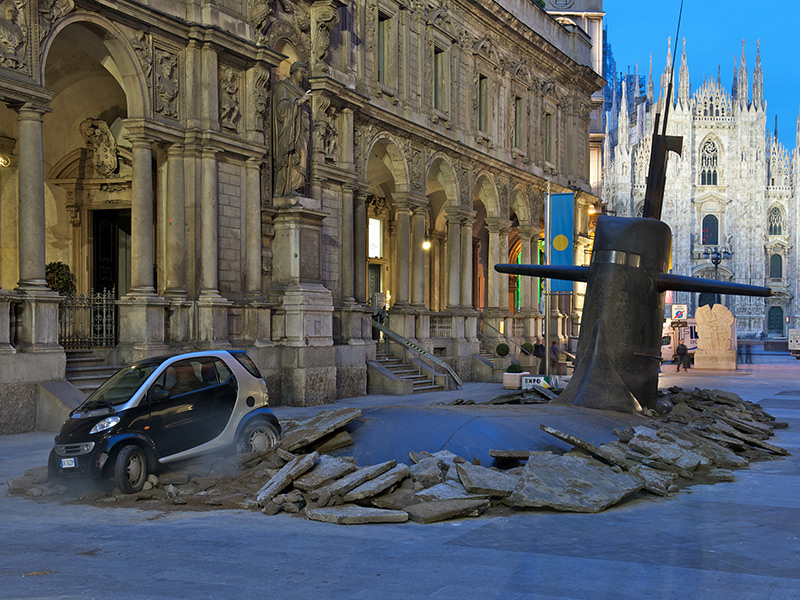 A Massive Submarine Emerges in Milan's City Center