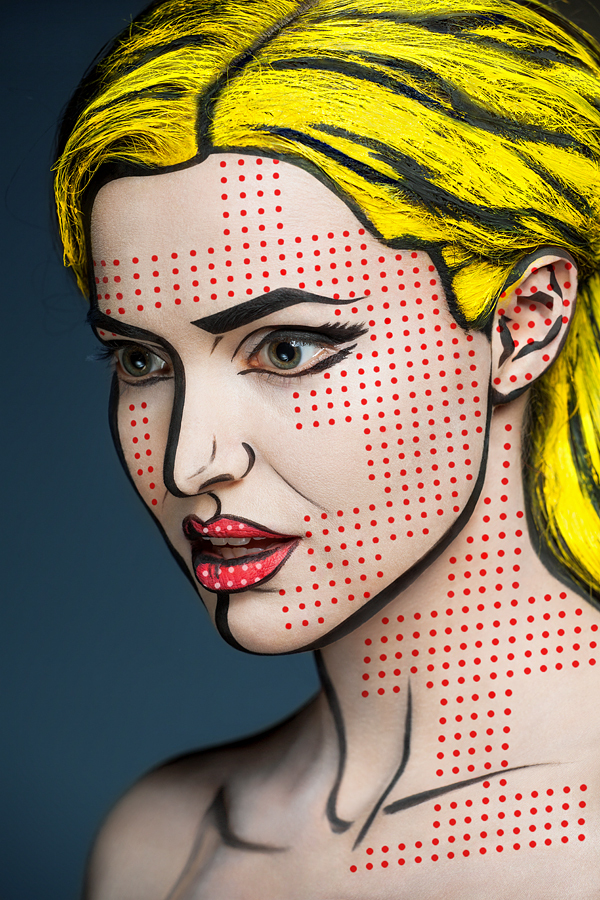 2D or Not 2D, Photos of Faces Painted With Colorful Designs That Look 2-Dimensional