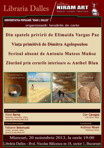 Editura Niram Art prezintă scriitori spanioli la București