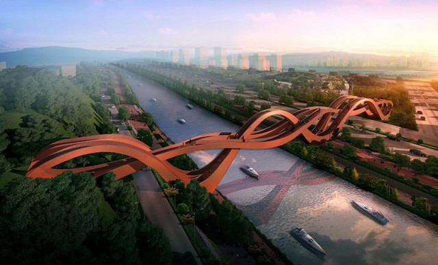 NEXT Architects Designs Sinuous Pedestrian Bridge for Changsha, China