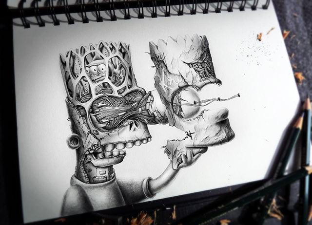 Distroy, Creepy Graphite Drawings of Popular Cartoon & Video Game Characters