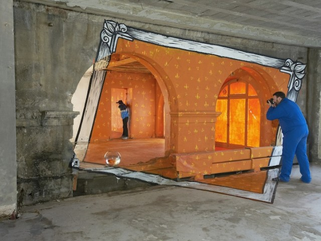 Anamorphoses, Whimsical Anamorphic Picture Frame Installations by Papier Peintres