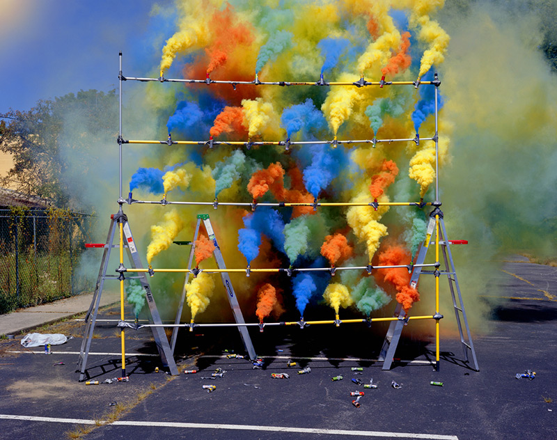 Site-specific Smoke Installation and Fireworks by Olaf Breuning