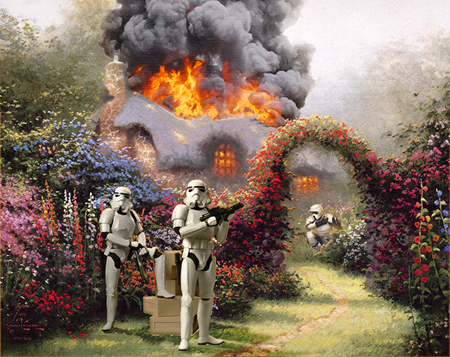 Artist Adds 'Star Wars' Themes to Famous Thomas Kinkade Paintings