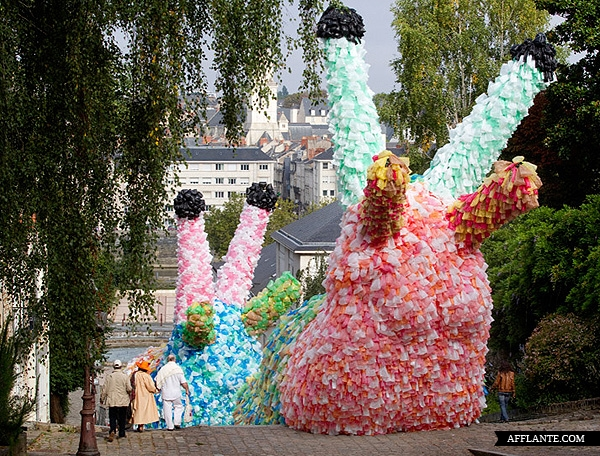 Giant Slug Sculptures Made Out of 40,000 Plastic Bags