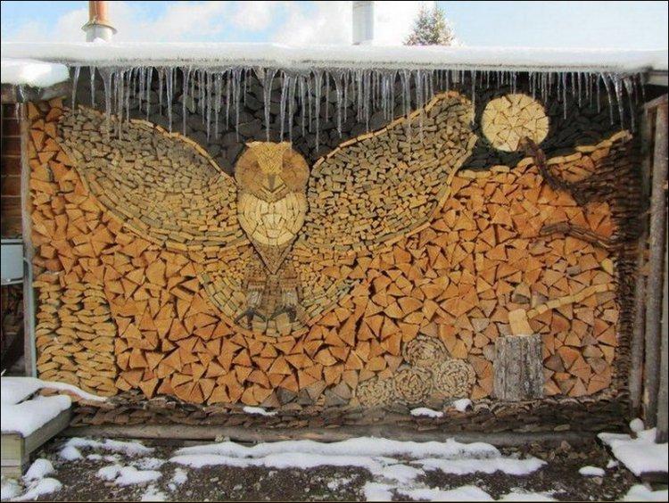 Design de aranjare a lemnelor pentru iarnă