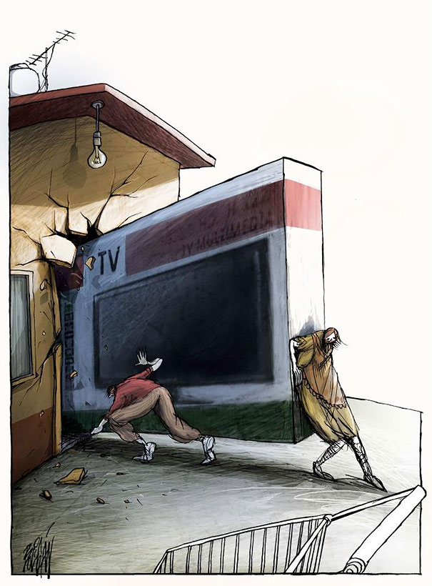 Consumerism, Corruption and Hypocrisy Cartoons by Angel Boligan