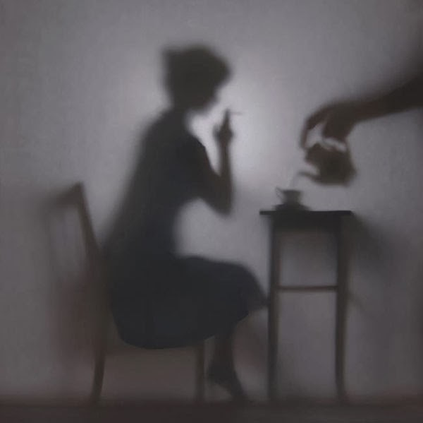 Photos of Shadowy Vignettes of a Woman's Life Silhouetted Behind a Backlit Screen