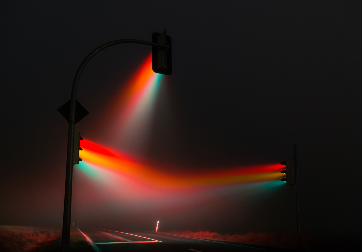 Ghostly Photos of Traffic Lights in Fog