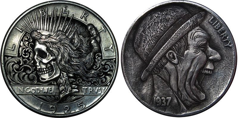 Bas-Relief 'Hobo Nickel' Sculptures Carved into Coins by Paolo Curcio