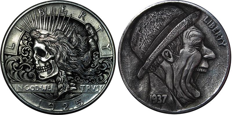 Bas-Relief 'Hobo Nickel' Sculptures Carved into Coins by Paolo Curcio