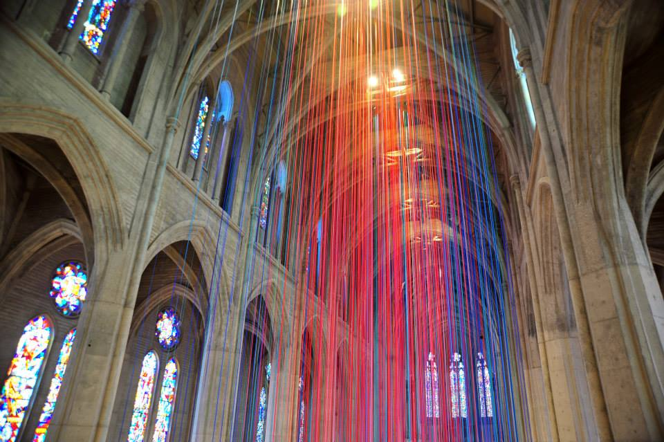 Art Installation Featuring Twenty Miles of Ribbons Suspended in San Francisco's Grace Cathedral
