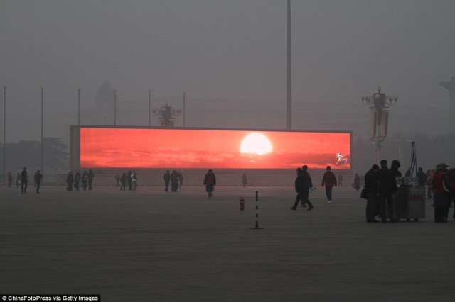 Giant Screens Display Fake Sunrises in Beijing When Smog Blots Out the Real Sun
