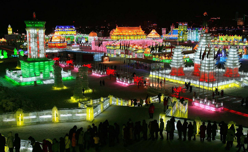Illuminated Glacier City at the 2014 Harbin Ice and Snow Festival