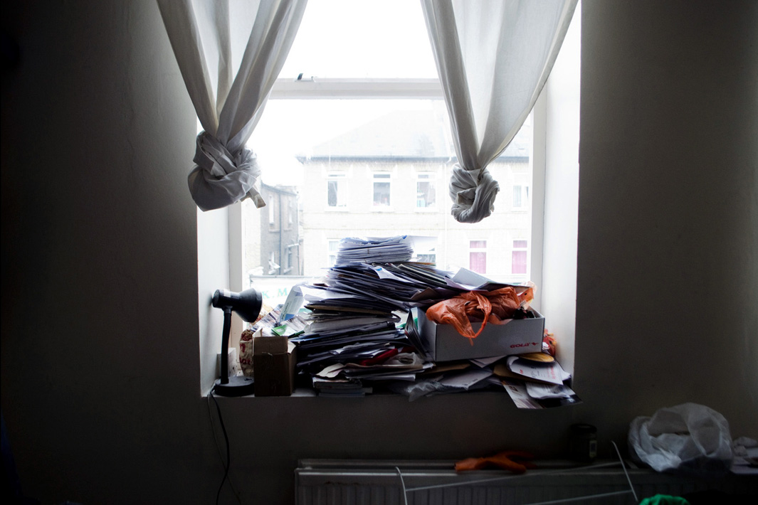 Unopened letters by the window, London.
