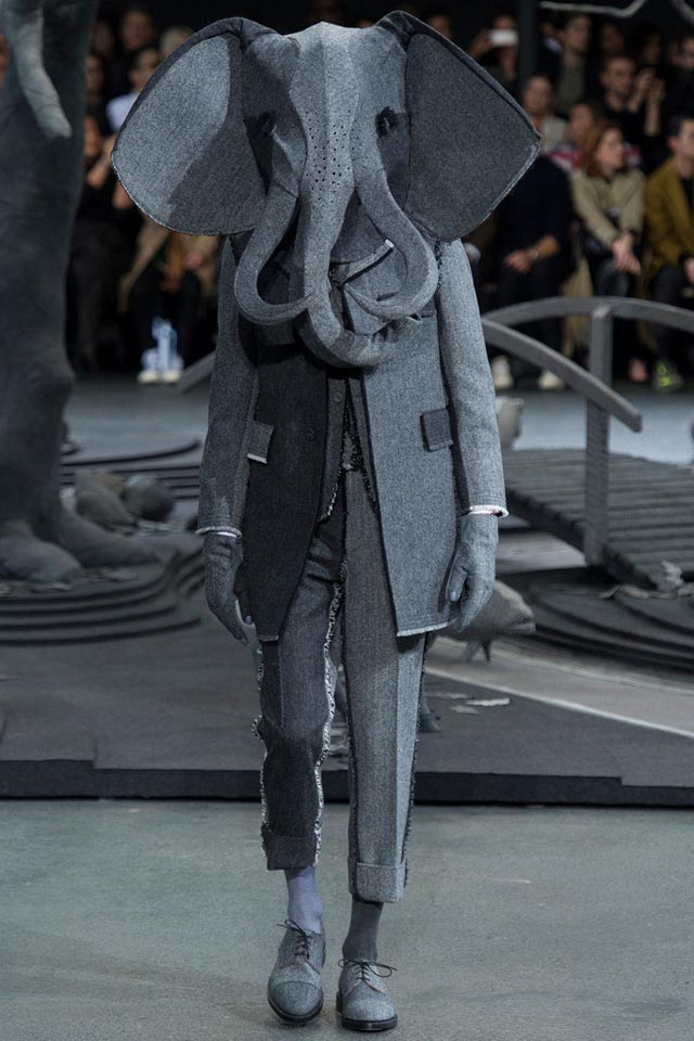 Humorous High Fashion Animal Headgear at Thom Browne's Fall 2014 Menswear Show