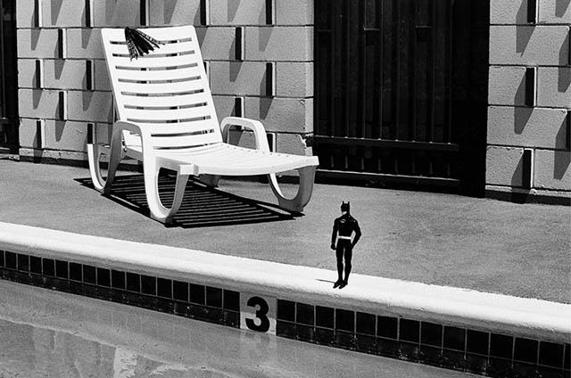 Black and White Photos of a Tiny Batman's Adventures in Texas by Rémi Noël