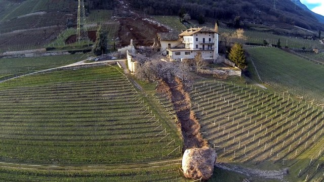 Gigantic Dislodged Boulders Roll Down Mountain Destroying Family Vineyard in Northern Italy