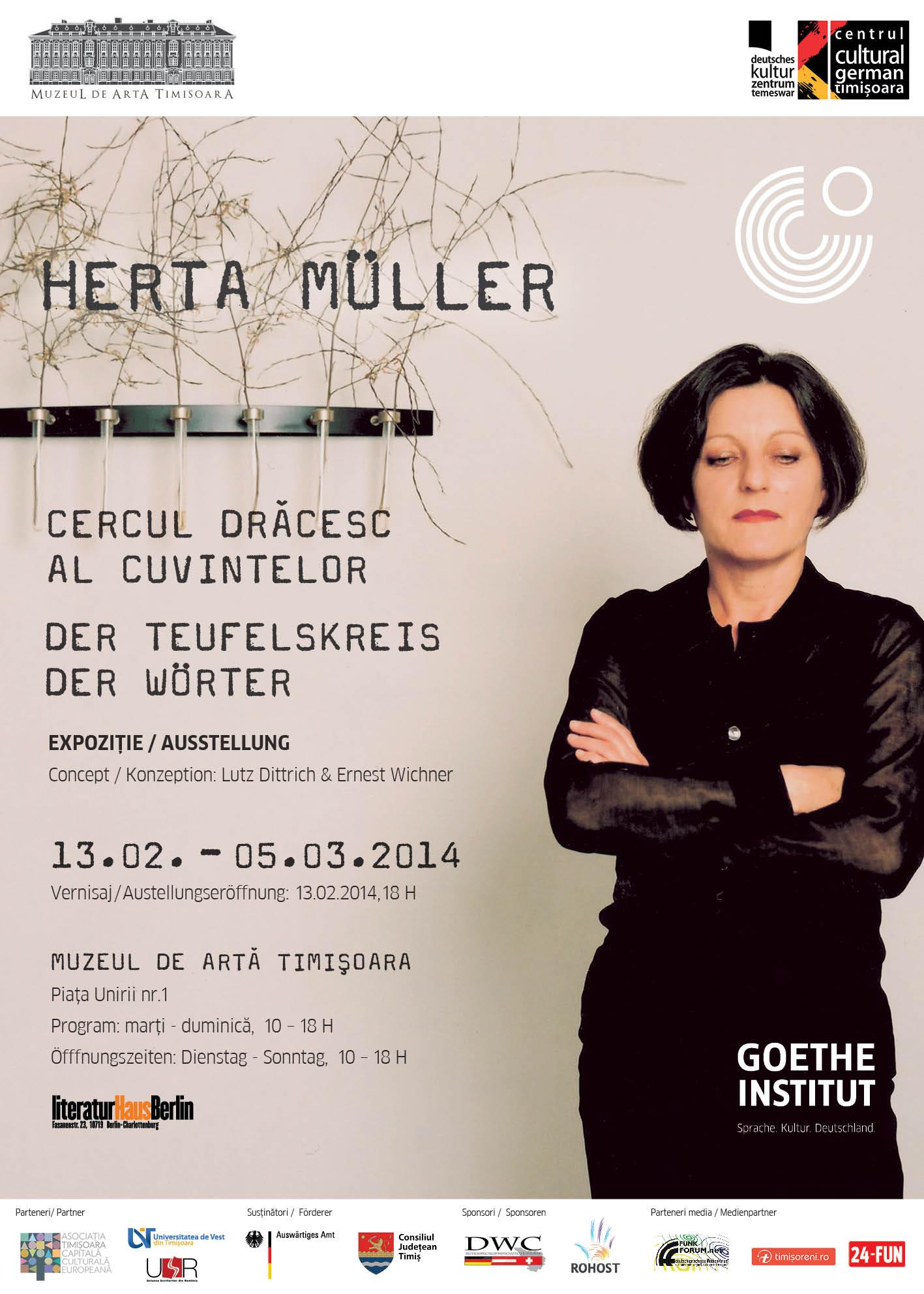 """Expoziția """"Herta Müller: Cercul drăcesc al cuvintelor"""" @ Muzeul de Artă Timişoara"""