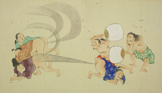 Ancient Japanese Scrolls From The Edo Period Depict Farting Competitions