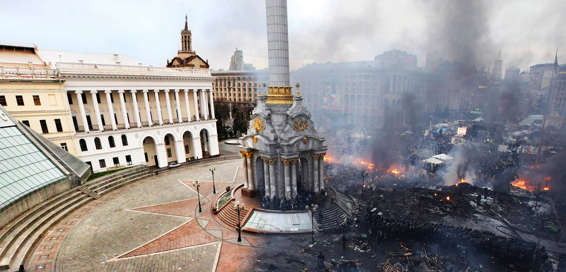 Before And After: Kiev's Independence Square After Ukrainian Riots