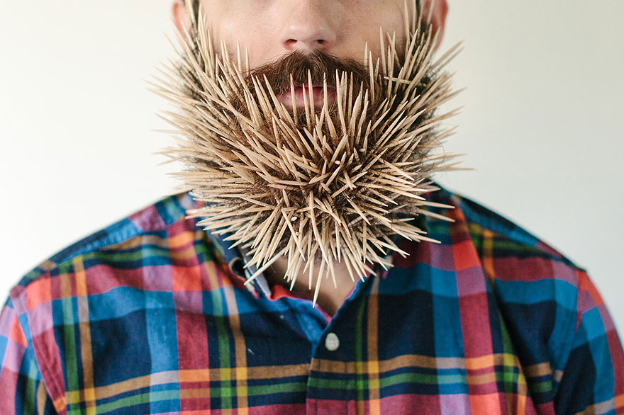 Guy Puts Household Objects In His Beard