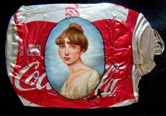 Kim Alsbrooks' Exquisite Portraits Painted on 600 Flattened Beer Cans