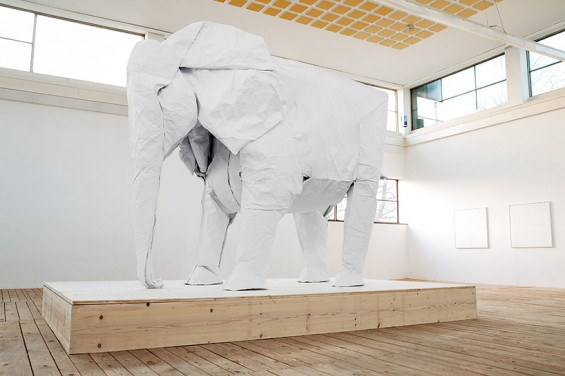 Sipho Mabona's Life Size White Elephant Origami Made With One Sheet Of Paper
