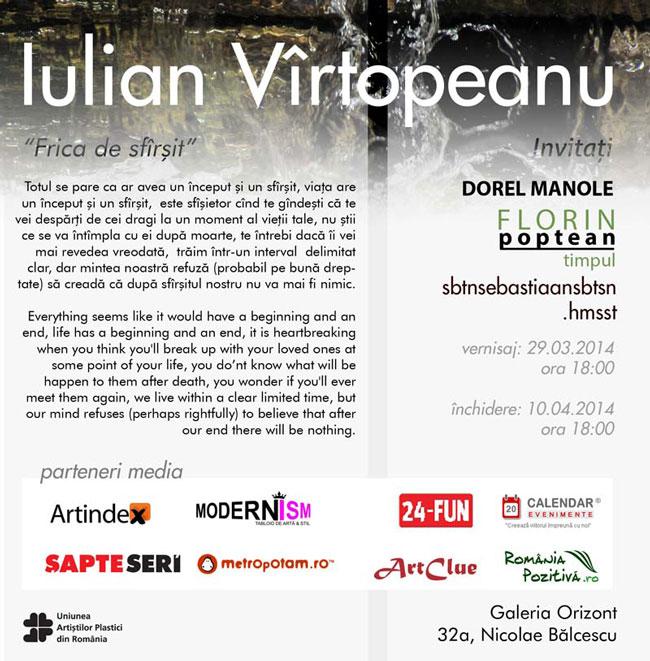 """Iulian Vîrtopeanu """"Frica de sfârșit"""" @ Galeria Orizont, București"""