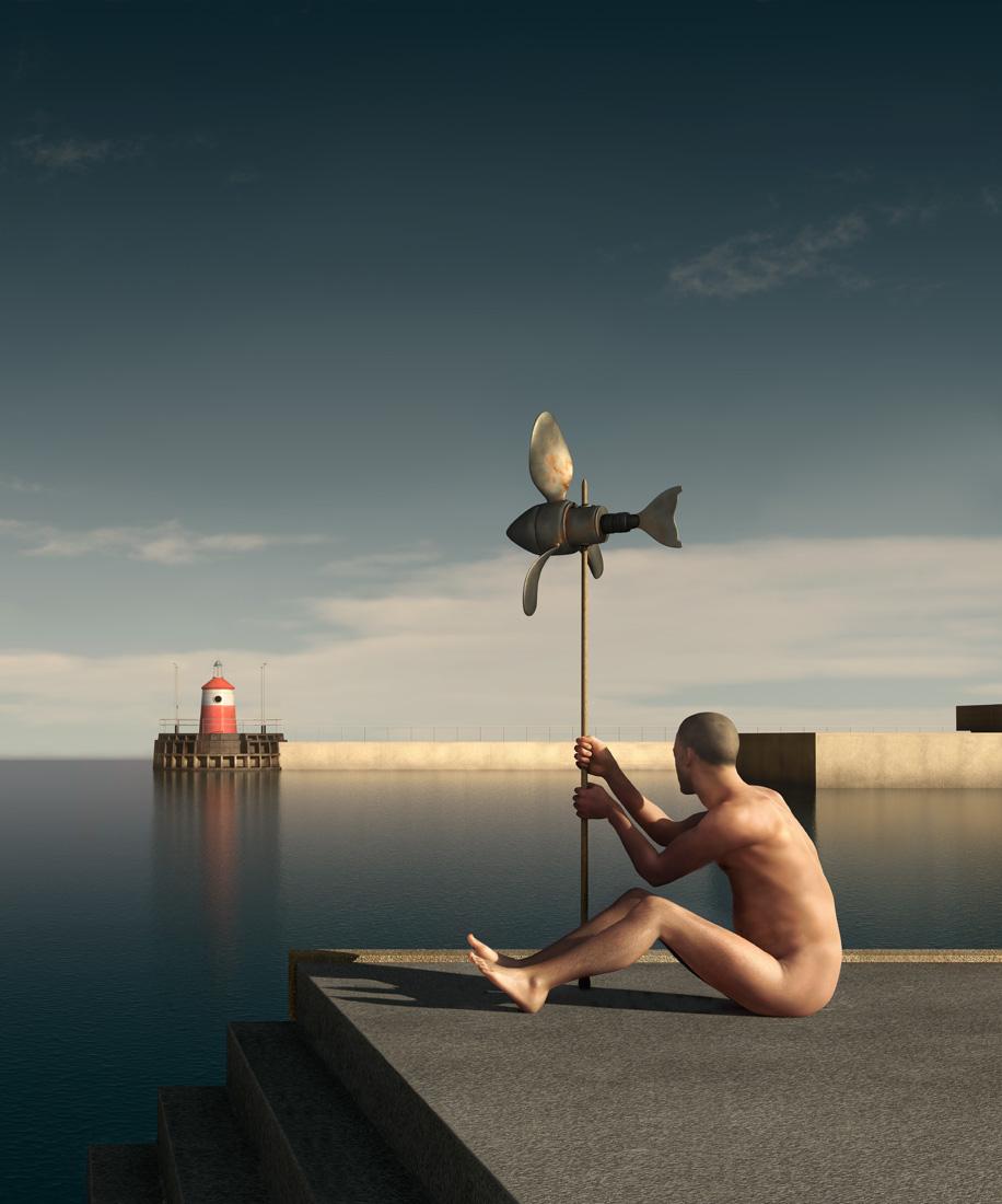 The harbour at 5 pm - no 3 floej 2 - ed 3 145 x 120 cm - ed 12 60 x 50 cm - computer animated image - lambda print 2013