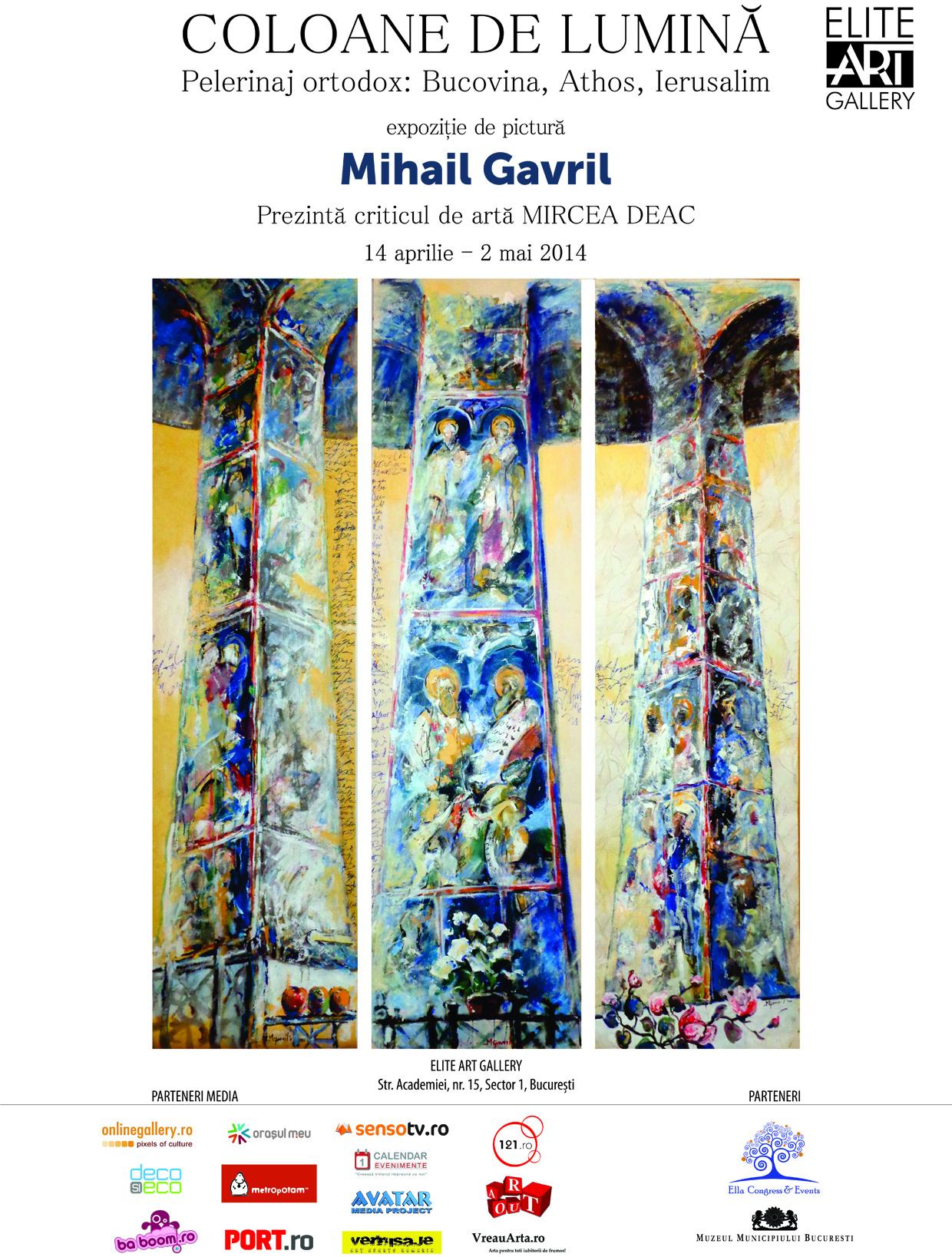 """Mihail Gavril – """"COLOANE DE LUMINĂ"""" @ ELITE ART GALLERY"""