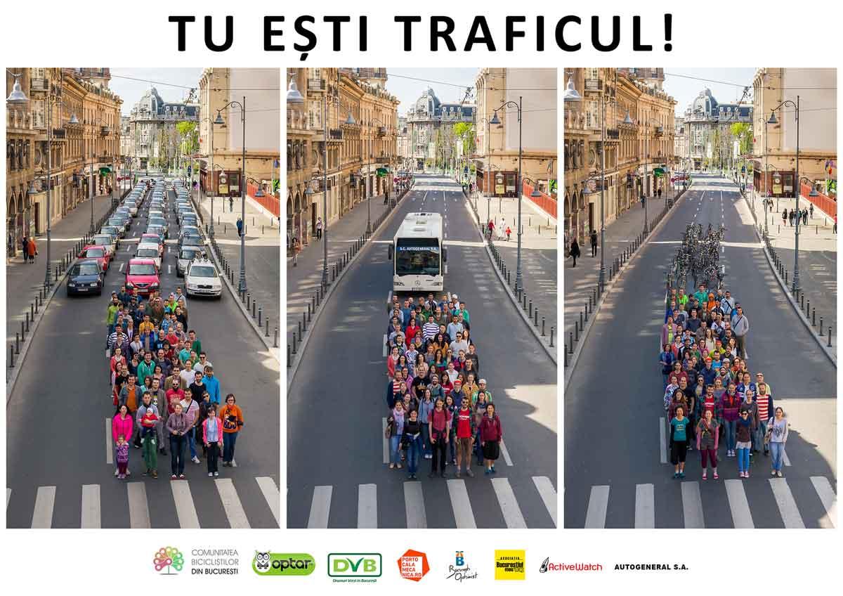 O fotografie istorică pentru București: Space taken by 60 people pe Calea Victoriei!