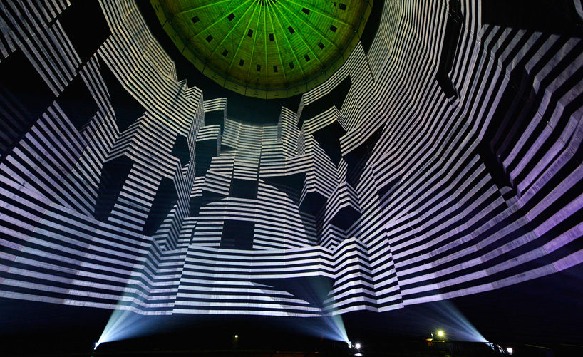 320° Licht, A Massive Projection Mapped Video Installation Inside a Gas Storage Tank in Germany