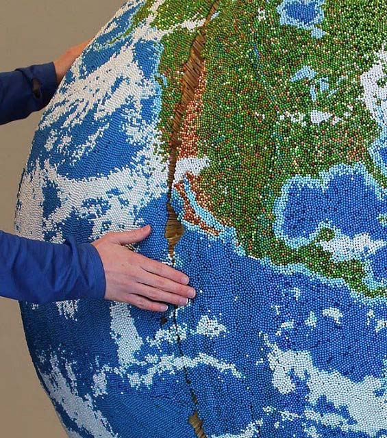 Andy Yoder Spent Over Two Years Creating A Globe Out Of Matchsticks And Paint