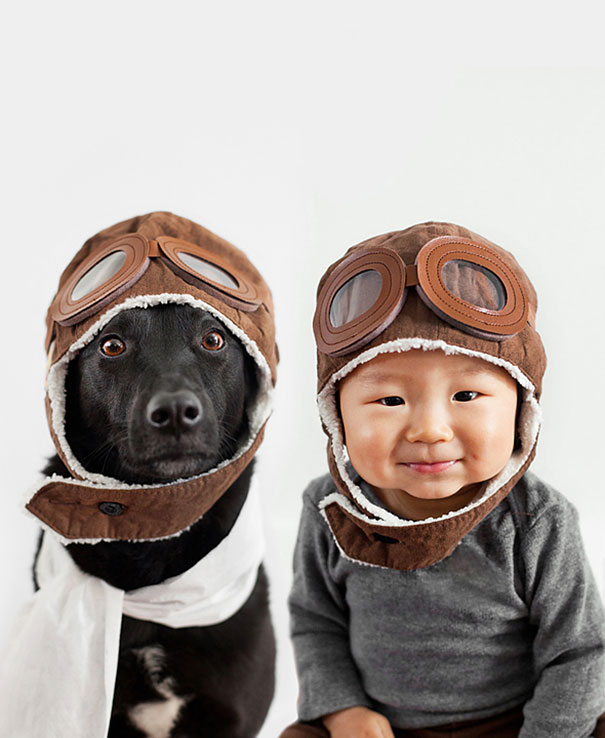 Mom Takes Adorable Matching Portraits Of Her 10 Month-Old Baby And Their Rescue Dog