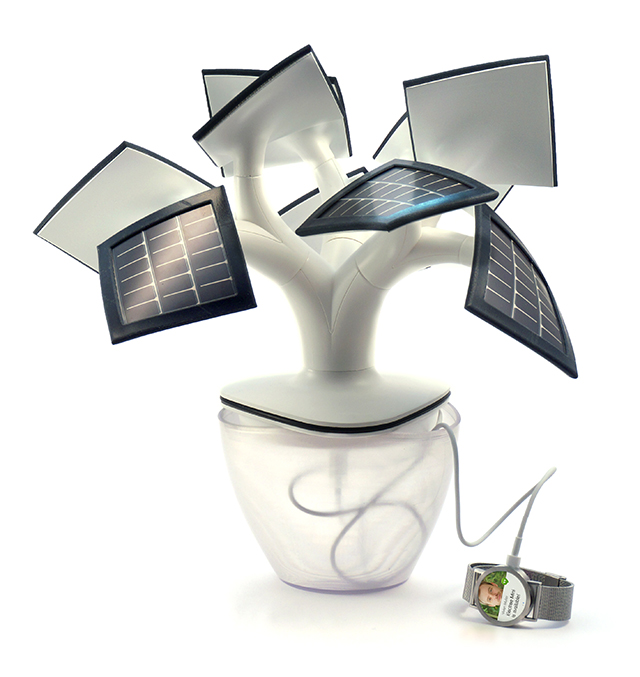 Electree mini, A Small Solar Panel Tree for Charging Batteries and Gadgets