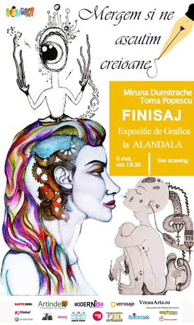 """Miruna Dumitrache (Fata Mecanică) și Toma Popescu """"Să mergem să ne ascuțim creioanele"""" @ Alandala Cafe – Art Gallery, București"""