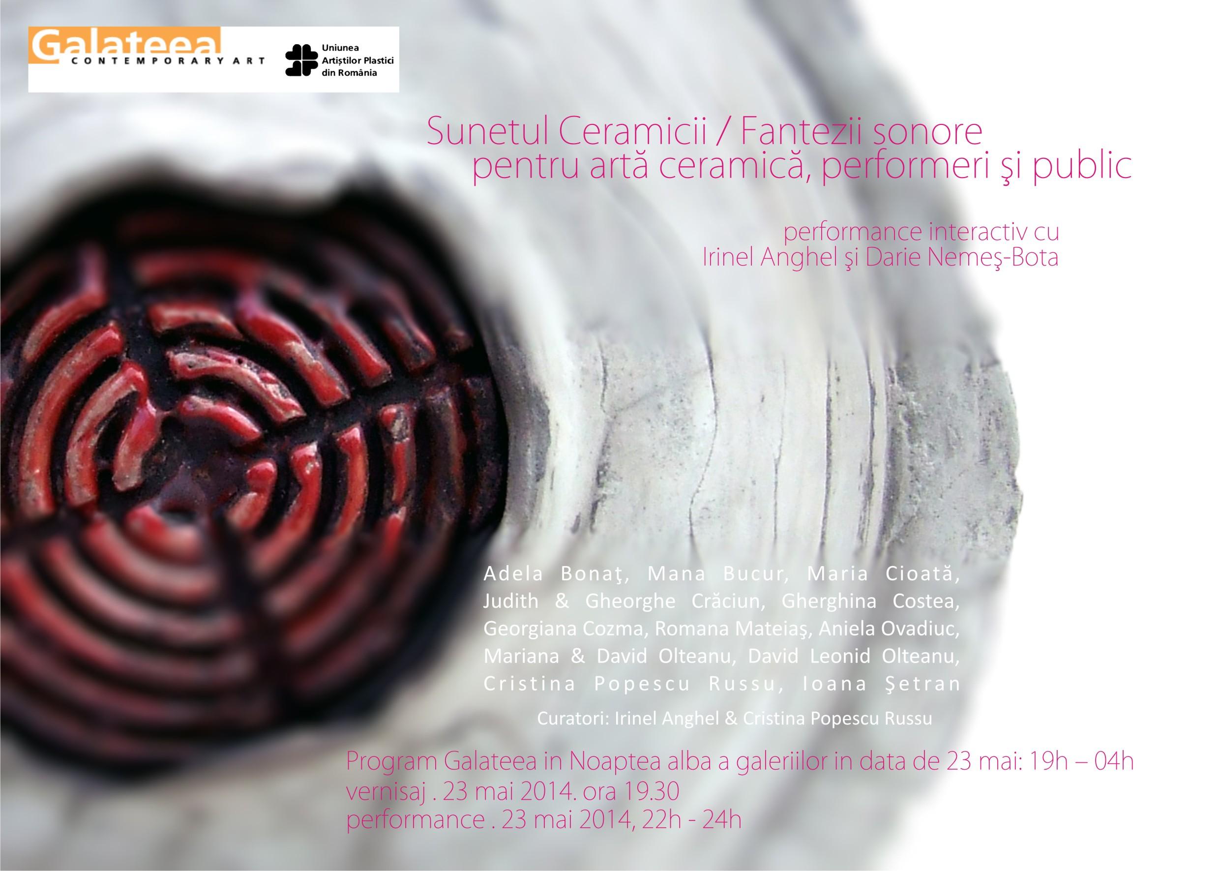 Sunetul Ceramicii / Fantezii sonore pentru artă ceramică, performeri şi public @ Galateea, București