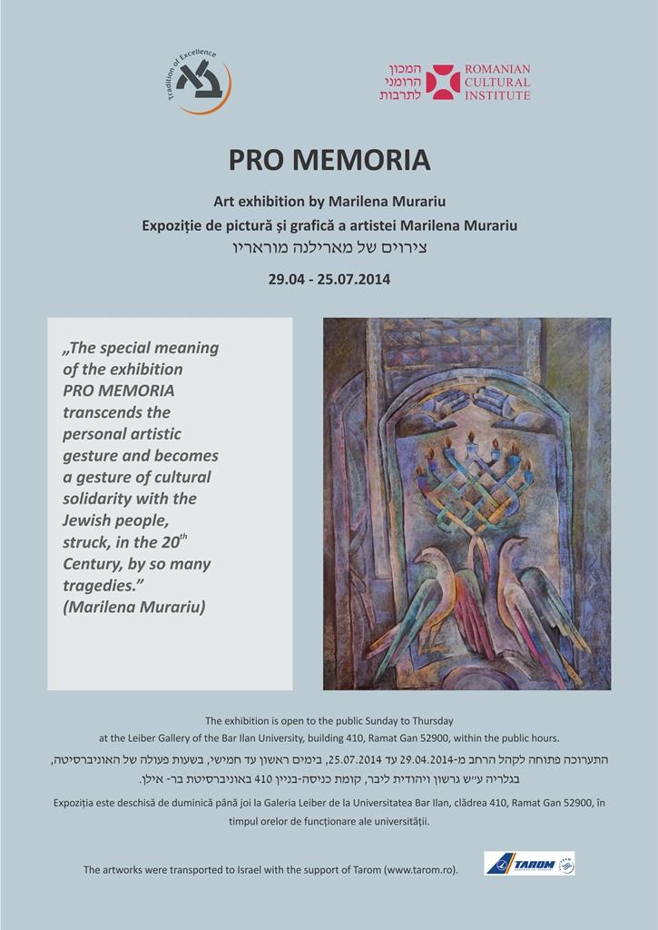 Expoziție de pictură și grafică a artistei Marilena Murariu la Galería Leiber de la Universitatea Bar Ilan, Israel