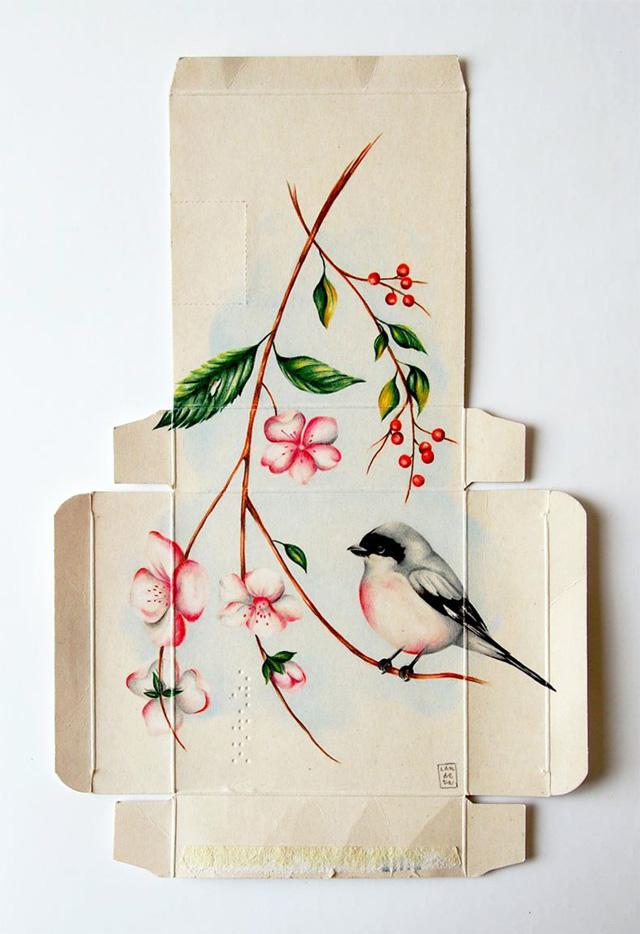 Bird Illustrations on Flattened Pharmaceutical Packaging
