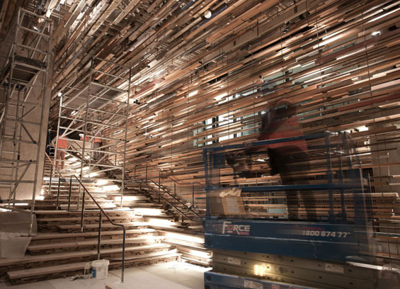 Installation Made Entirely Of Reclaimed Wood