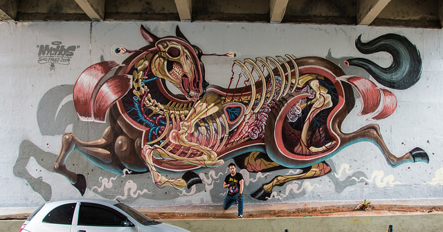'Horsepower', A Giant Mural of a Dissected Horse by Nychos