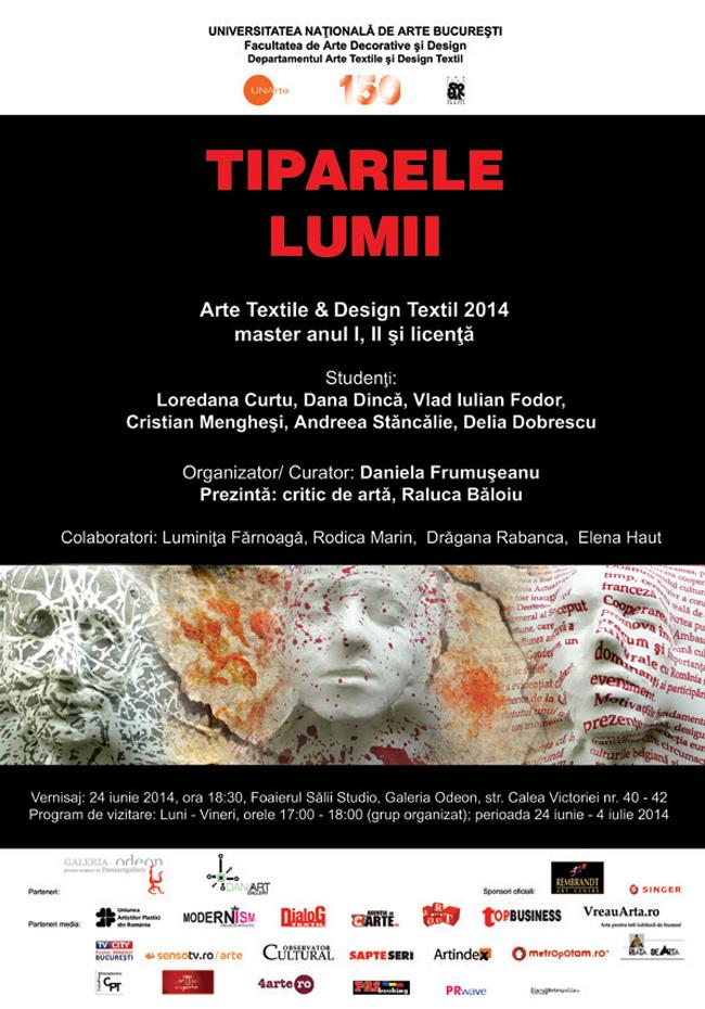TIPARELE LUMII – MASTER AN I, II şi LICENŢĂ 2014/ Arte Textile & Design Textil @ Galeria Odeon, București