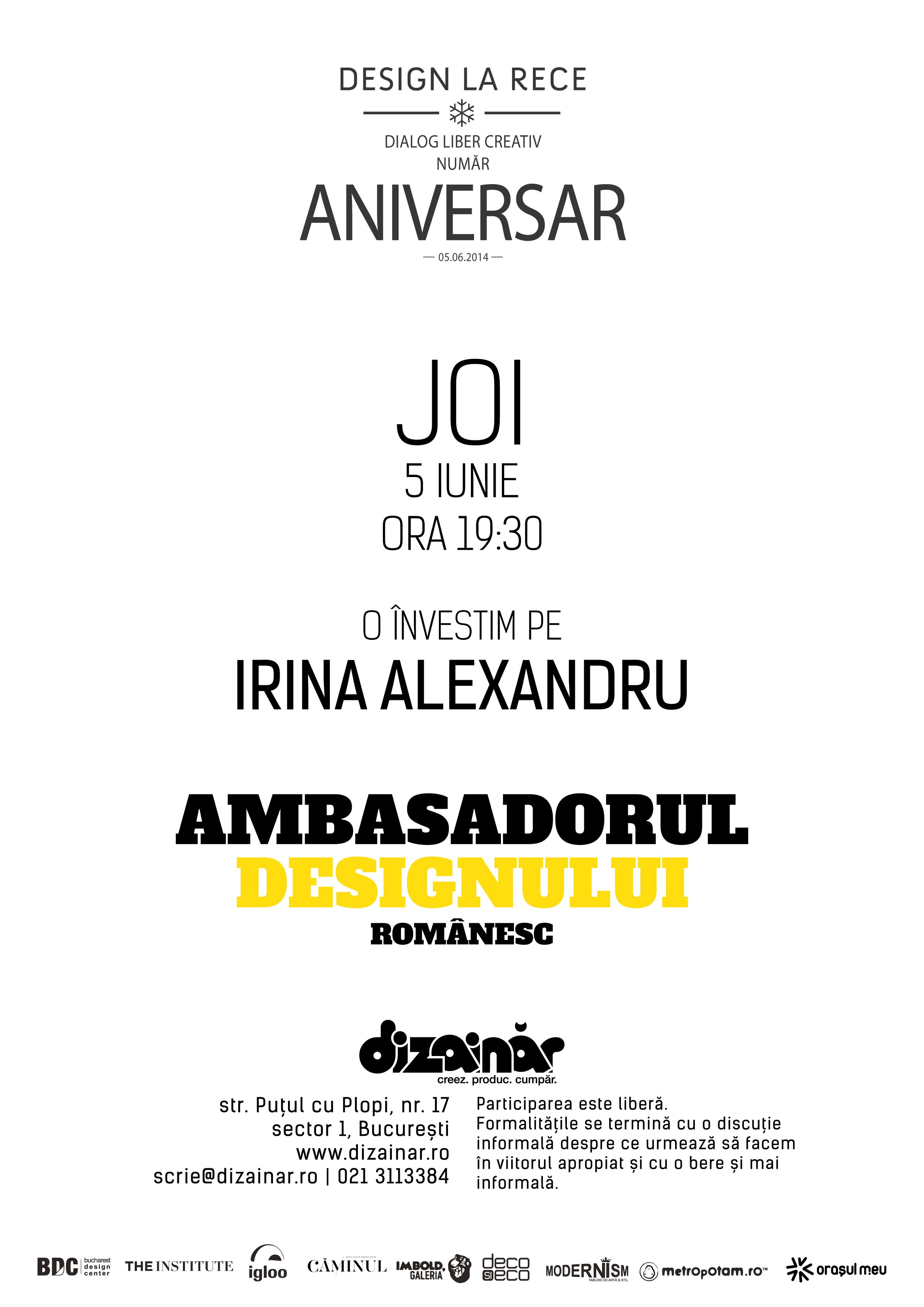 Invitație DLR #aniversar | Învestirea Ambasadorului Designului Românesc