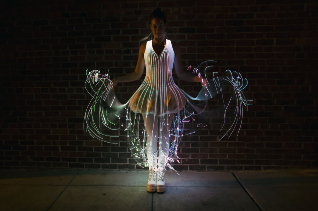 An Incredible Glowing Dress That Is Covered in Fiber Optic Filaments