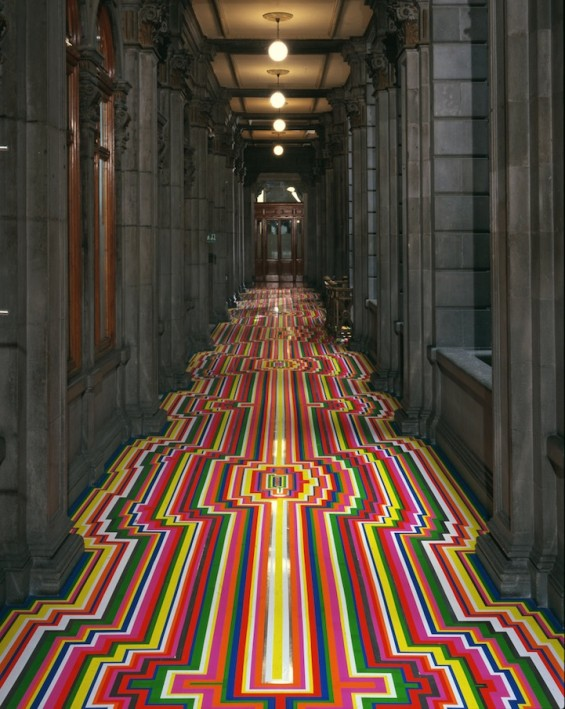 Jim Lambie's Stunning Geometric Floor Installations Create With Tape