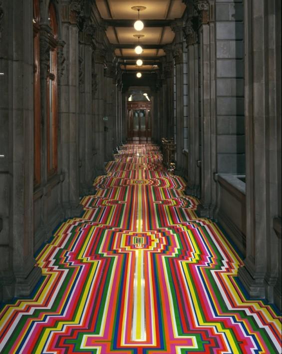 Jim Lambie's Stunning Geometric Floor Installations Create With Tape