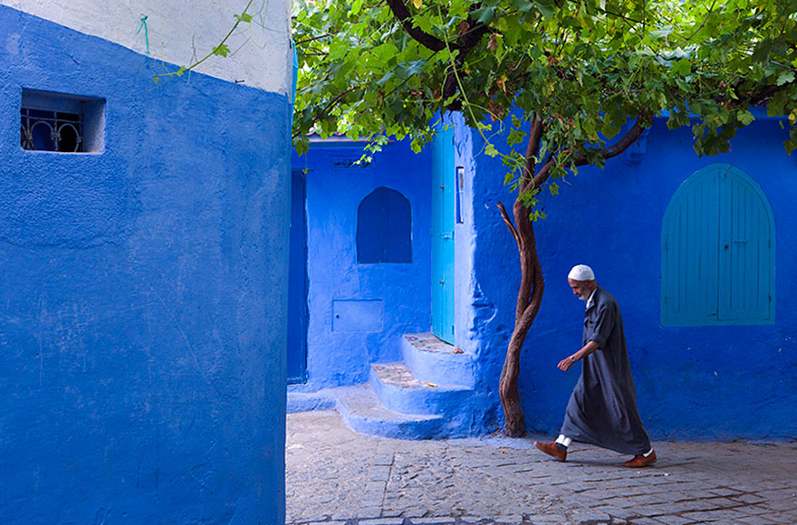 Old Town In Morocco Covered In Blue Paint